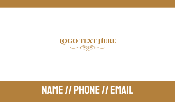 bridal - Elegant Golden Wordmark Business card horizontal design