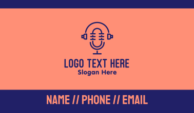 Podcast Mic Headset  Business Card
