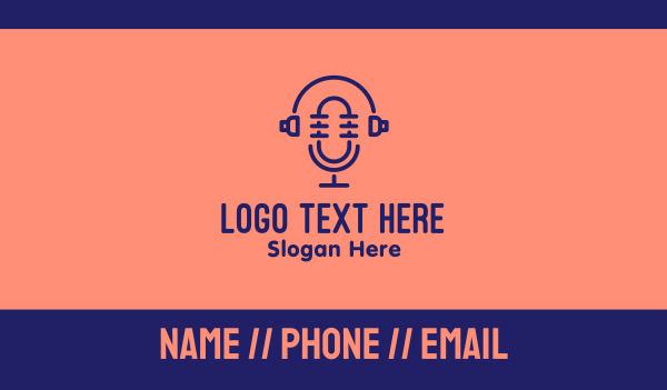 sound engineer - Podcast Mic Headset  Business card horizontal design
