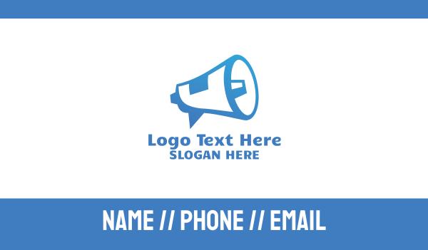 forecast - Blue Megaphone Announcement Business card horizontal design