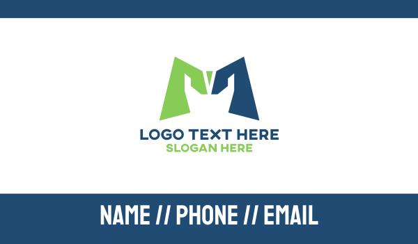 fixing - Construction Letter M Business card horizontal design