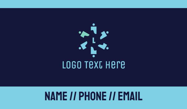 nomad - Propeller People Lettermark  Business card horizontal design