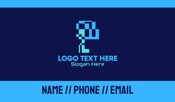 analog - Digital Pixel Letter P Business card horizontal design