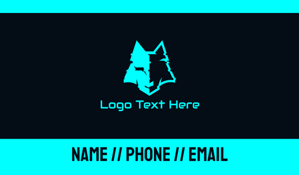 distorted - Cyan Distorted Wolf Business card horizontal design