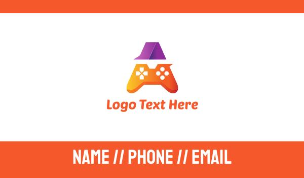 Orange Game Controller A Business Card