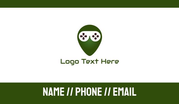 green alien - Gaming Alien  Business card horizontal design