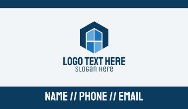 Hexagon Window Letter A Business Card