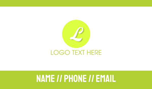 lime - Lime Green Letter Circle Business card horizontal design