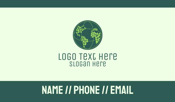 world map - Eco Leaf Globe  Business card horizontal design