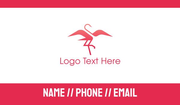 flamingo - Pink Elegant Flamingo Business card horizontal design