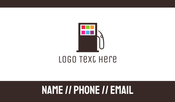 gas station - Petrol Pump Apps Business card horizontal design