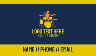Drummer Boy Silhouette Business Card