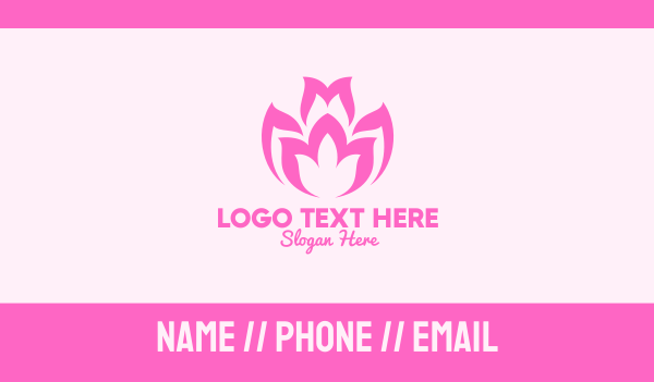 flower bud - Pink Flower Bloom Business card horizontal design