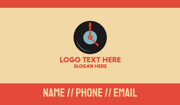 singing - Clock Vinyl Record Business card horizontal design