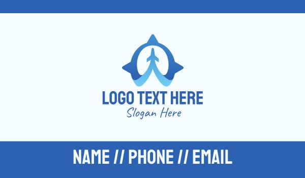 air travel - Blue Air Travel Compass Business card horizontal design