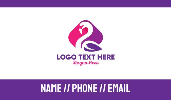 pink bird - Stylish Leaf Swan Business card horizontal design