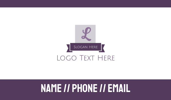 banner - Lilac Lettermark Business card horizontal design