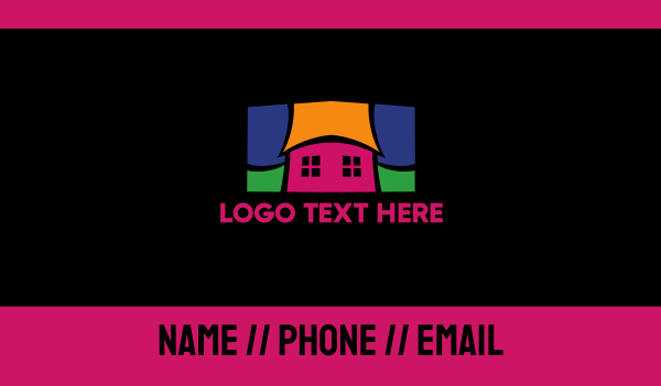 story book - Colorful Mosaic House  Business card horizontal design