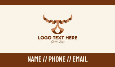 Brown Ribbon Bull Business Card