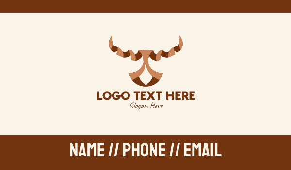 cow - Brown Ribbon Bull Business card horizontal design