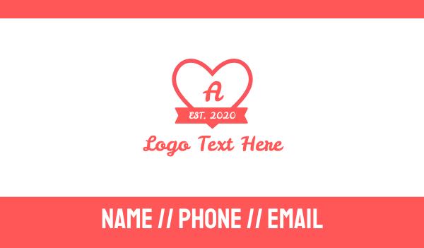 cupid - Valentine Heart Lettermark Business card horizontal design
