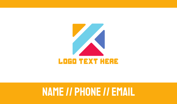 blocks - Colorful Blocks Letter K  Business card horizontal design
