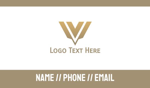 sandblast - Gold Modern V Business card horizontal design