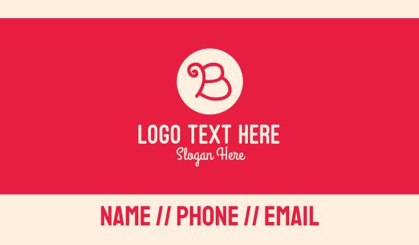 womens - Pink Handwritten Letter B Business card horizontal design