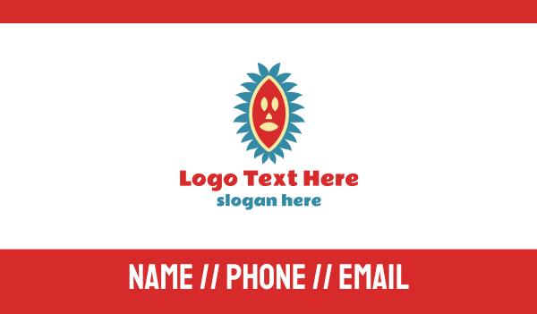 zulu - African Tribal Mask Business card horizontal design