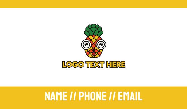 dietitian - Mosaic Pineapple Face Business card horizontal design