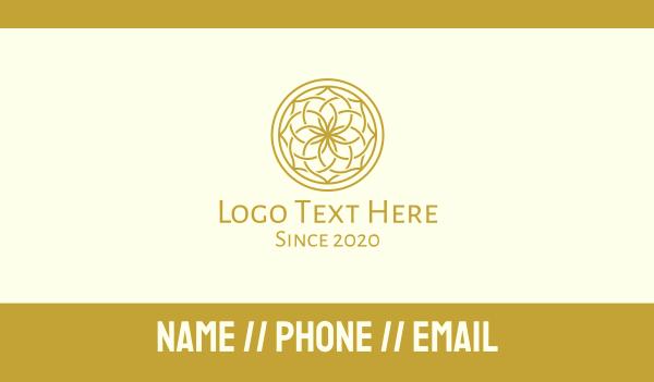 thai - Golden Mandala Flower Pattern Business card horizontal design