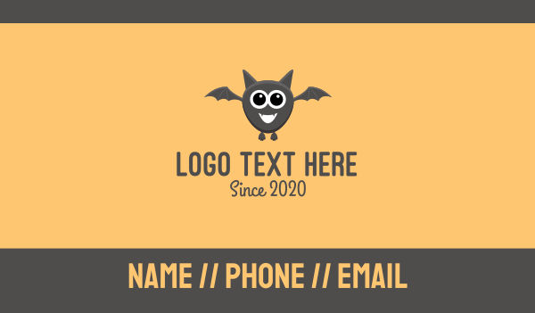 midnight - Baby Bat Mascot Business card horizontal design
