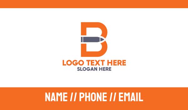 pistol - Letter B Gun Bullet Business card horizontal design