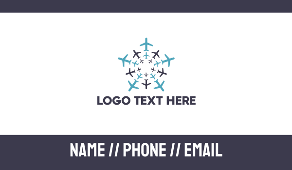plane - Air Team Business card horizontal design