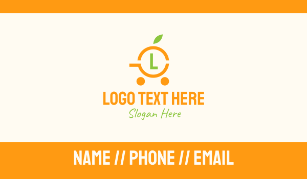 citric - Simple Orange Cart Lettermark Business card horizontal design