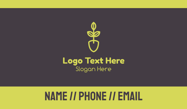 green - Green Seedling Shovel Business card horizontal design
