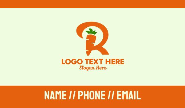 carrot - Carrot Letter R Farm  Business card horizontal design