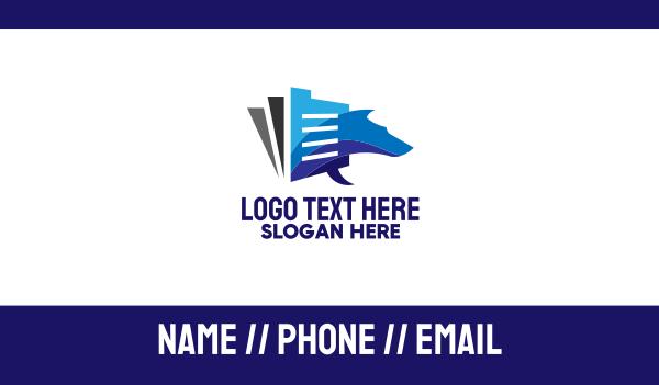 blue dog - Pet Document Files Business card horizontal design