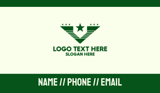 Green Star Army Letter V Business Card