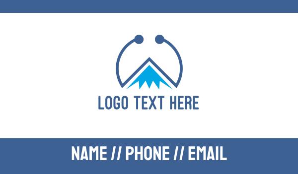 alps - Blue Tech Mountain Business card horizontal design