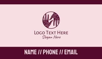 Flower Henna Hands  Business Card