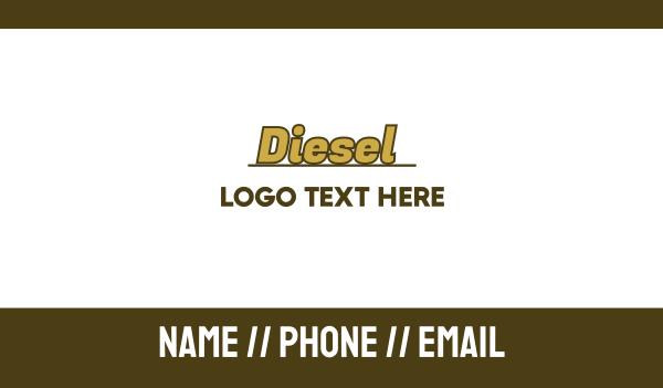 fuel - Gold Diesel Wordmark Business card horizontal design