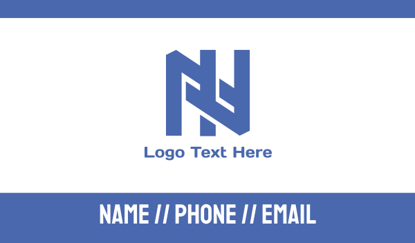 solid - Blue Interlaced N Business card horizontal design