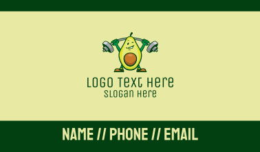 Healthy Avocado Exercise Mascot  Business Card
