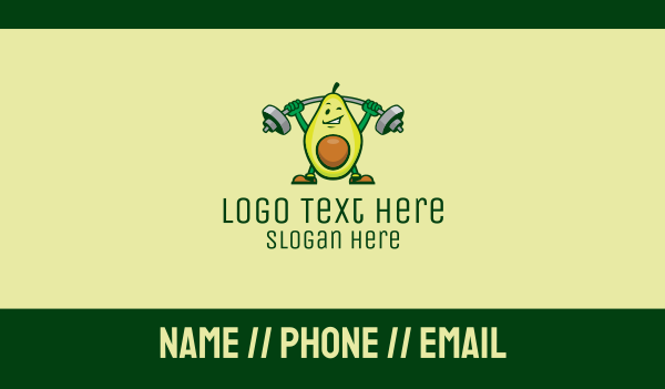 smoothie - Healthy Avocado Exercise Mascot  Business card horizontal design