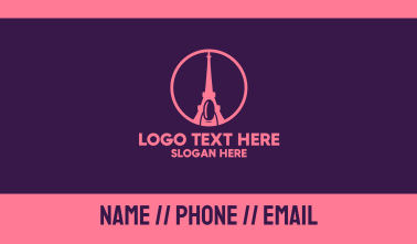 Pink Nail Eiffel Tower Business Card