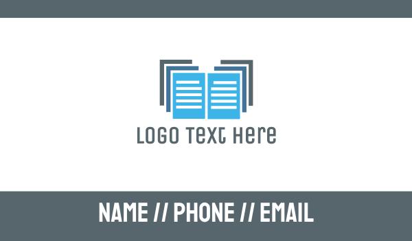 documents - Blue Documents Business card horizontal design