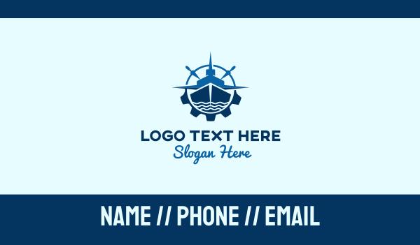 marine - Blue Ship Compass Business card horizontal design