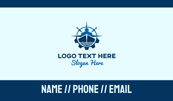 cruise ship - Blue Ship Compass Business card horizontal design