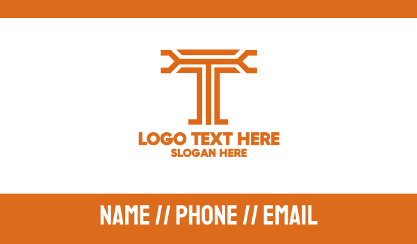letter t - Modern T Outline Business card horizontal design